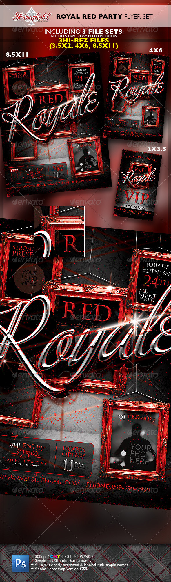 GraphicRiver Royal Red Party VIP Event Flyer Template Set 6719401