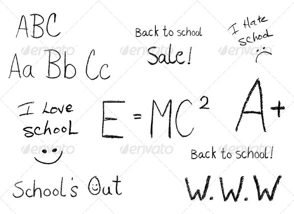 Selection of Back to school phrases - Stock Photo - Images