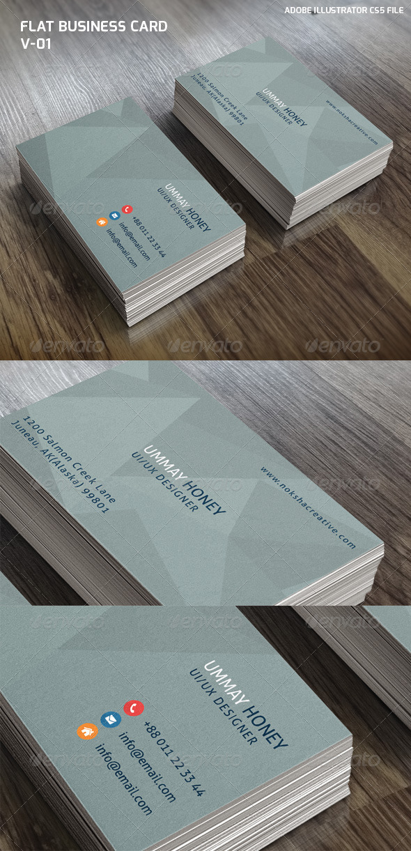 GraphicRiver Flat Business Card V-01 6719976