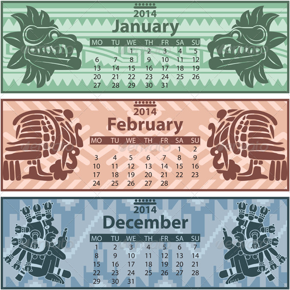 Winter Calendar 2014 with Mayan Ornaments