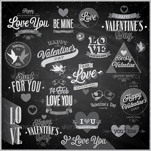 GraphicRiver Valentine`s Day Set Chalkboard 6720771