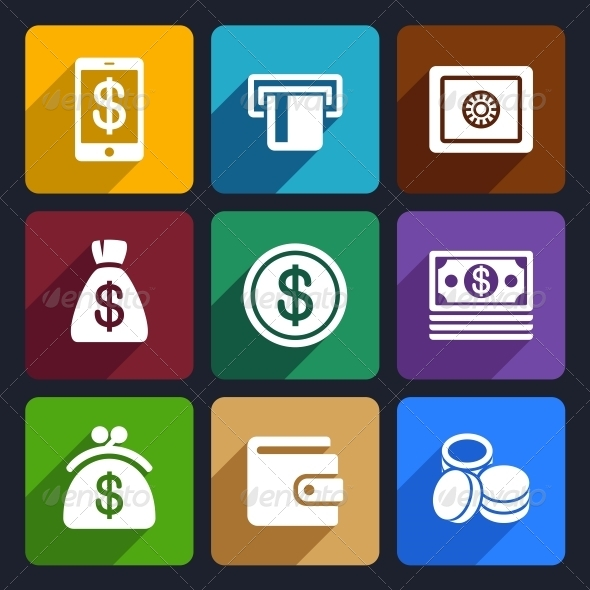 GraphicRiver Money and Bank Flat Icons Set 40 6721153