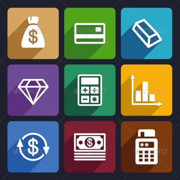 GraphicRiver Money and Bank Flat Icons Set 41 6721156