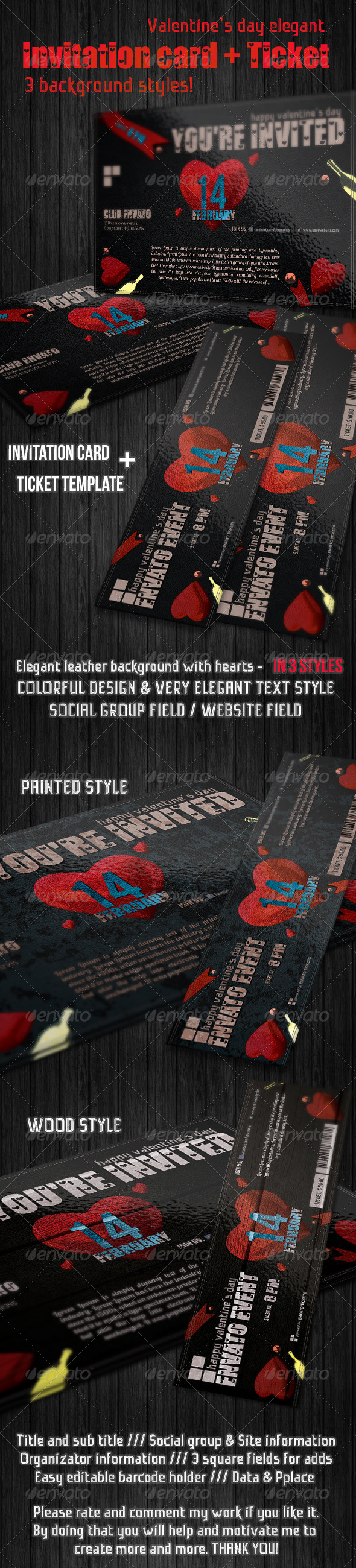 GraphicRiver Valentine s day invitation suit 6716965