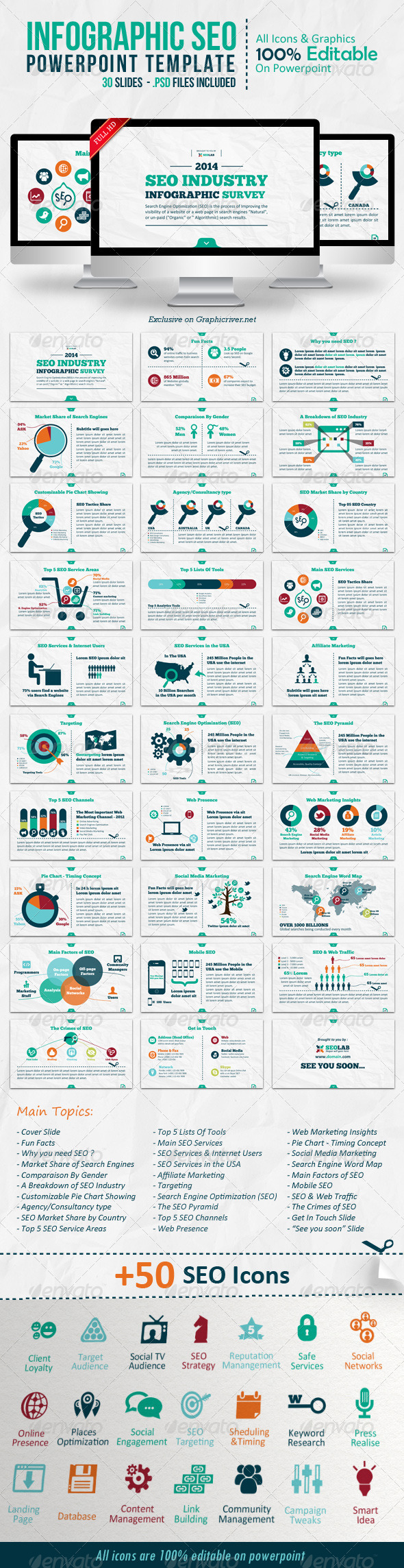 GraphicRiver Infographic SEO Powerpoint Template 6709947