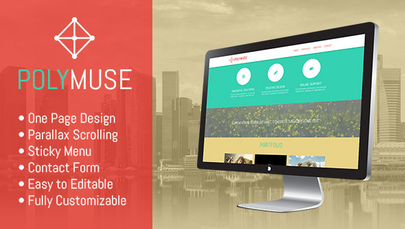 Polymuse - One Page Parallax Muse Template - Muse Templates