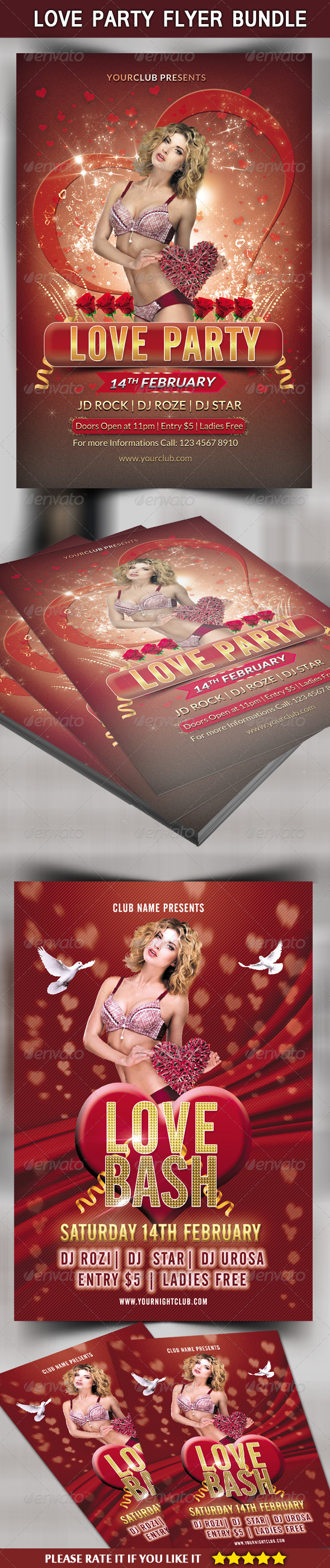 GraphicRiver Love Party Flyer Bundle 6723151