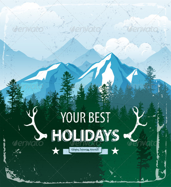 GraphicRiver Landscape with Forest and Mountains 6723646