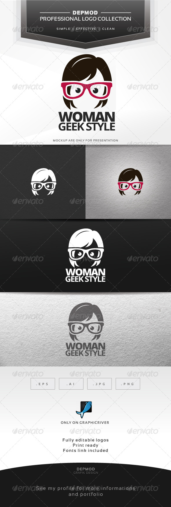 GraphicRiver Woman Geek Style Logo 6724010