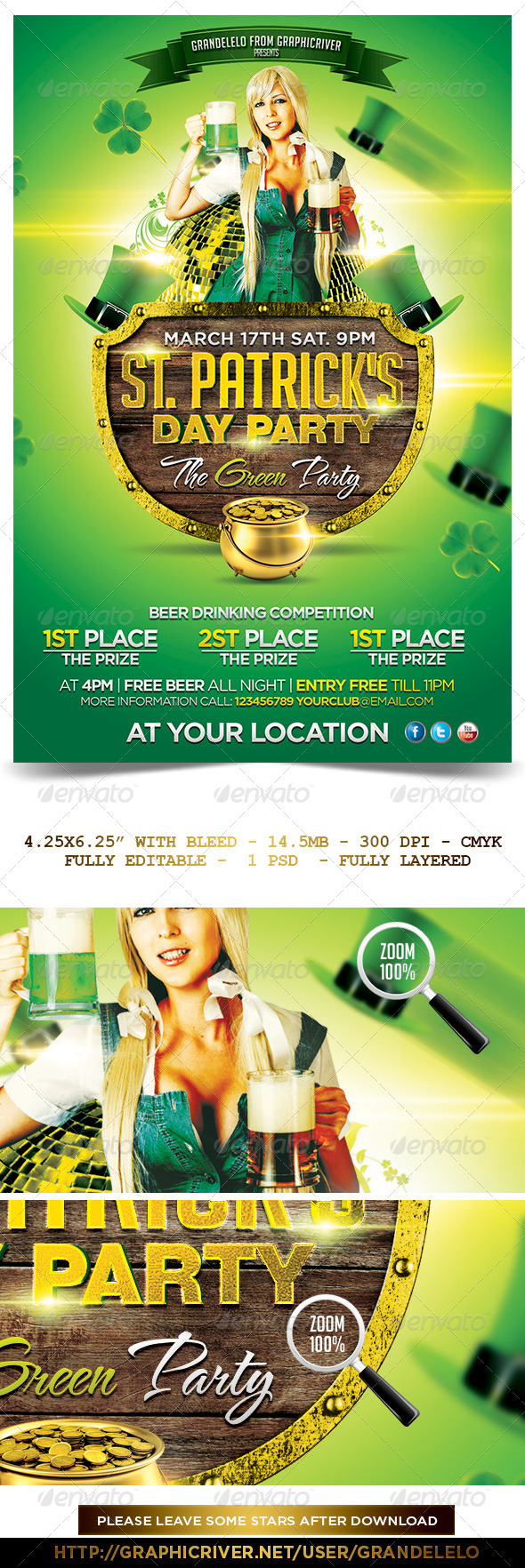GraphicRiver St Patricks Day Flyer Template 6724075