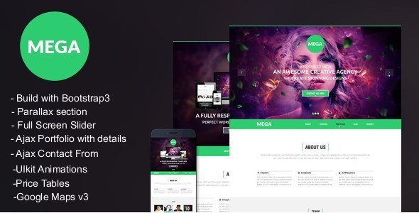 MEGA -Responsive onepage Parallax Template - Experimental Creative