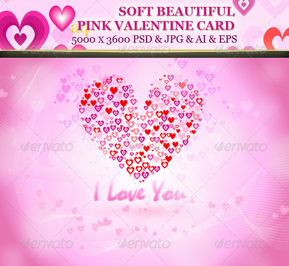 GraphicRiver Soft Beautiful Pink Valentine Card 6716501