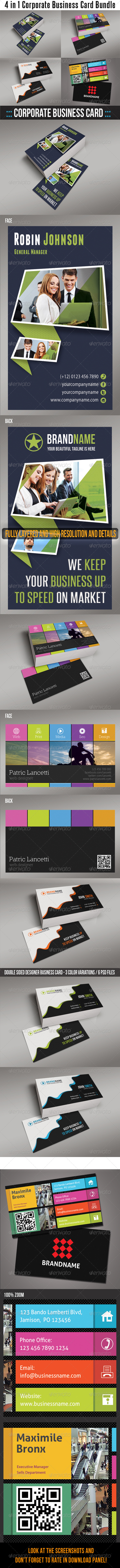 GraphicRiver 4 in 1 Corporate Business Card Bundle 03 6724765