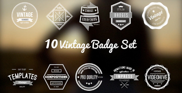 10 Animated Vintage Badges Set by Zedpromedia | VideoHive