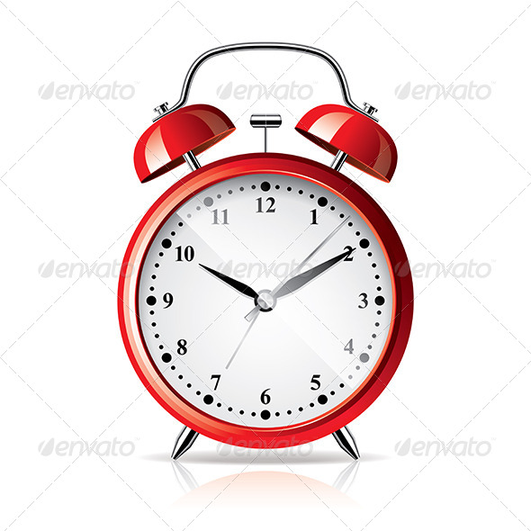 GraphicRiver Red Alarm Clock Isolated on White Vector 6724876