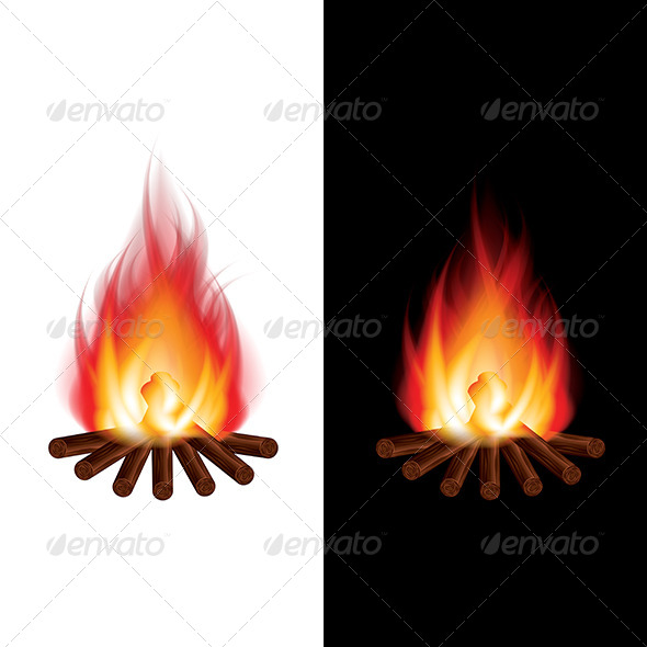 GraphicRiver Bonfire on Black and White Background Vector 6724953