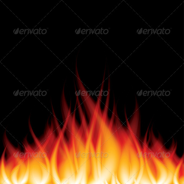 GraphicRiver Burning Fire on Black Vector Illustration 6725034