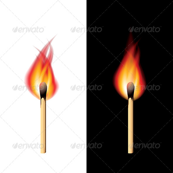 GraphicRiver Burning Match Black and White Background Vector 6725040