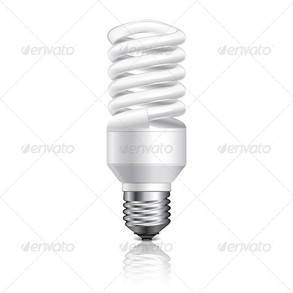 GraphicRiver Energy Saving Lamp Isolated on White Vector 6725042