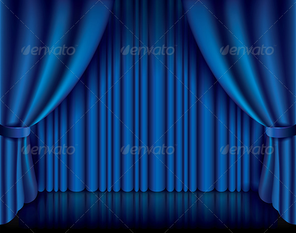 GraphicRiver Blue Curtain Vector Illustration 6725043