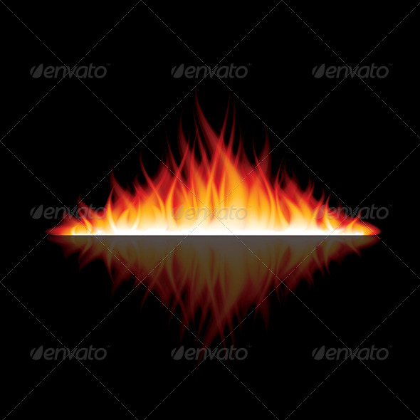 GraphicRiver Burning Fire with Reflection on Black Vector 6725056