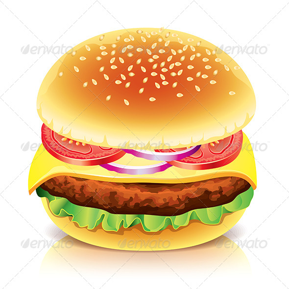 GraphicRiver Hamburger Isolated on White Vector Illustration 6725141
