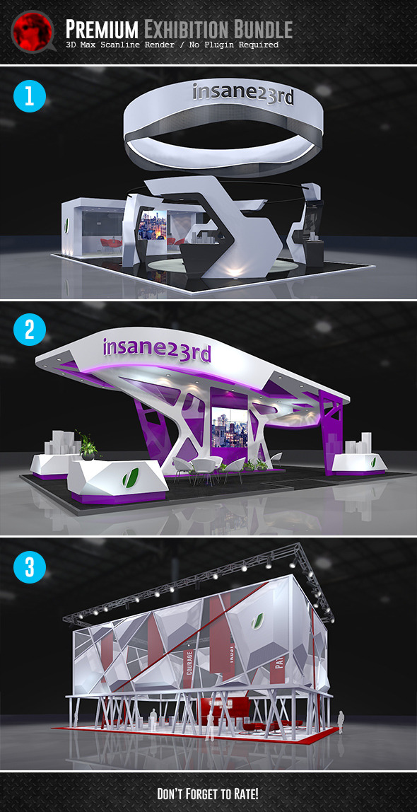 Exhibition Stand Circle : D model bundle premium exhibition design booths
