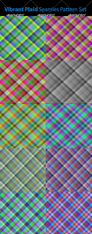 GraphicRiver Vibrant Plaid Seamless Pattern Set 6725332