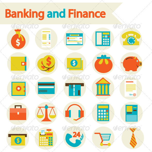 GraphicRiver Banking And Finance Set Icons 6725455