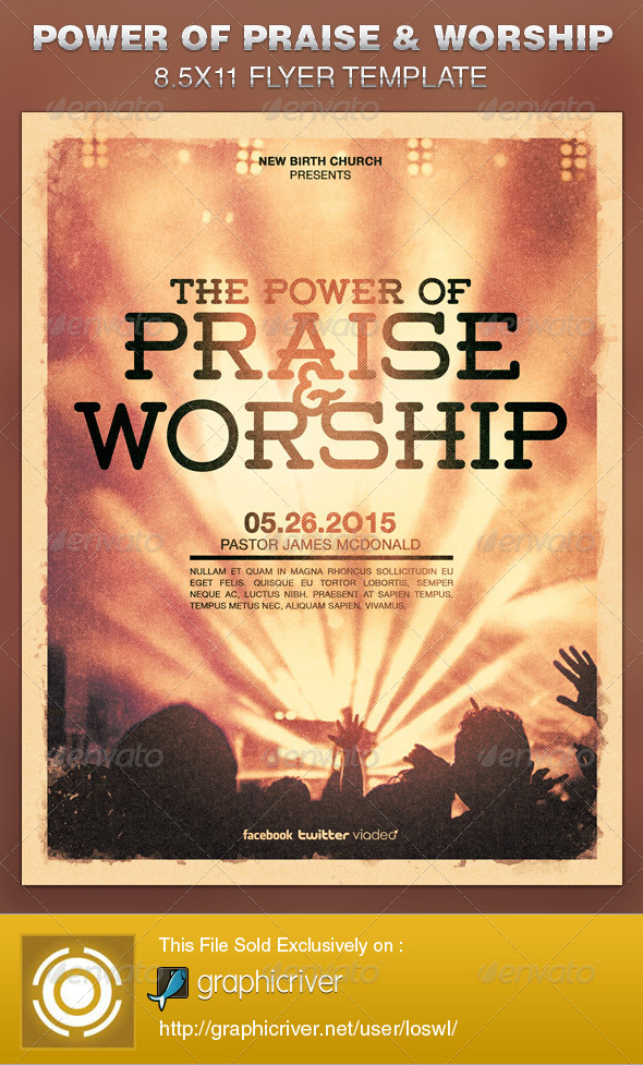 GraphicRiver Power of Praise and Worship Church Flyer Template 6725803