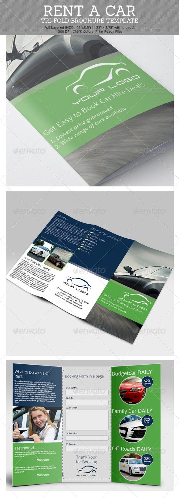 GraphicRiver Rent a Car Tri-Fold Brochure Template 6725849