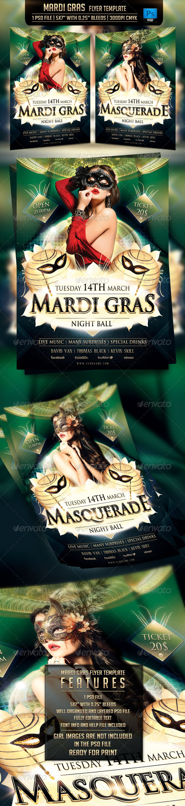 GraphicRiver Mardi Gras Flyer Template 6726422