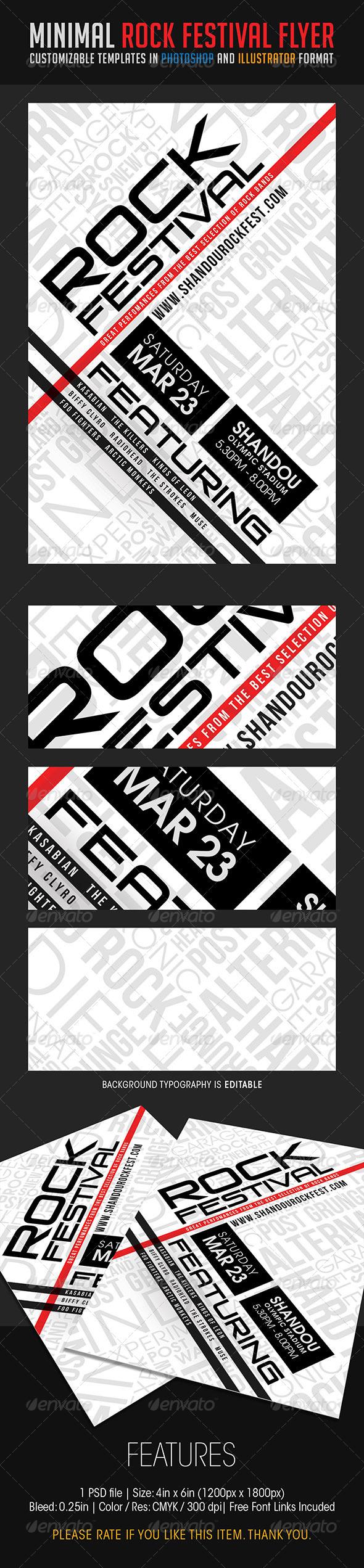 GraphicRiver Minimal Rock Festival Flyer 6726734