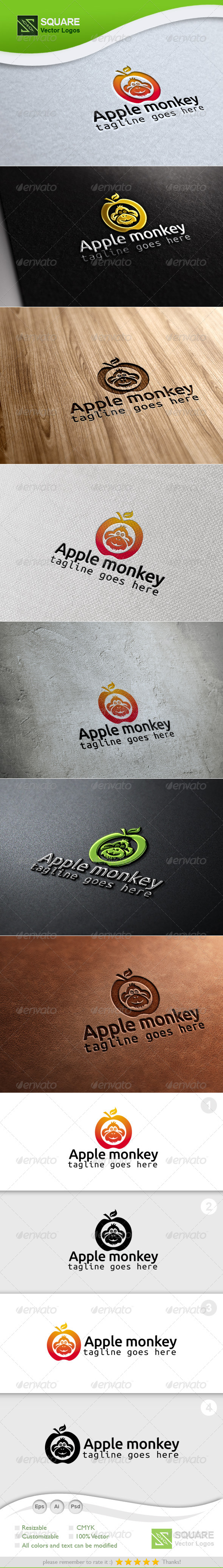 GraphicRiver Apple Monkey Vector Logo Template 6726745