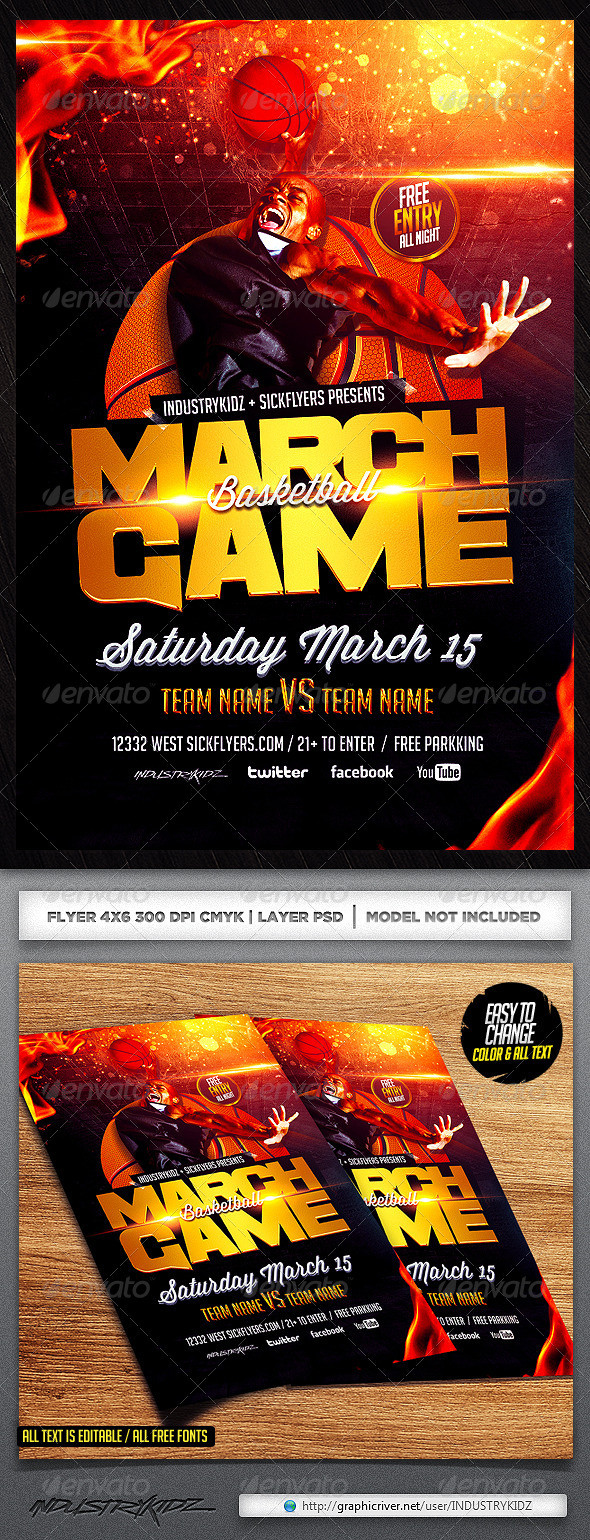 GraphicRiver March Madness Basketball Flyer Template 6722639