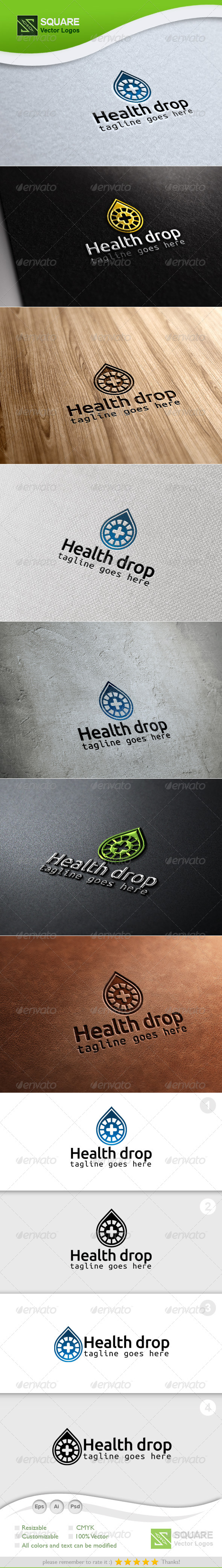 Health, Drop Vector Logo Template
