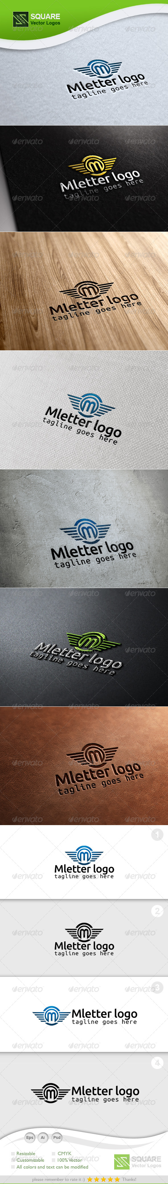 M, Wings Vector Logo Template - Letters Logo Templates
