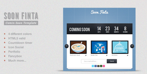 Soon Finta Coming Soon Template - ThemeForest Item for Sale