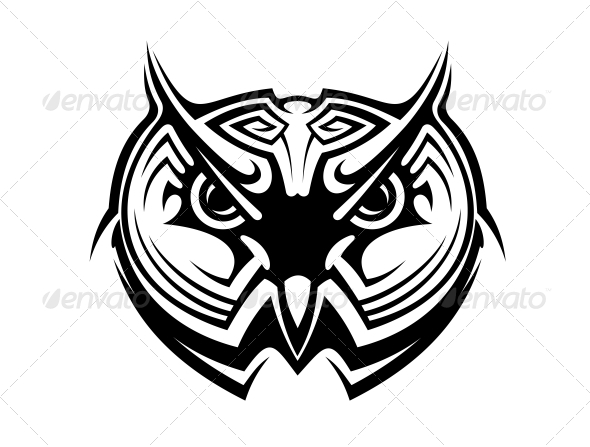 GraphicRiver Tribal Owl Tattoo 6727372