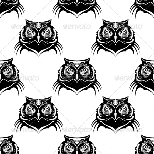 GraphicRiver Seamless Pattern Illustration of an Owl Head 6727374
