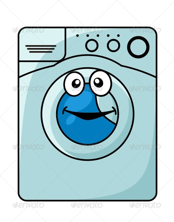Cartoon Washer And Dryer ~ Cartoon washing machine vector clipart illustration with