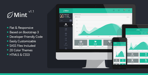 Mint - Flat & Responsive Admin Dashboard Template - Admin Templates Site Templates