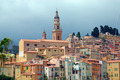 Old town and Saint-Michel church in Menton. French Azure coast - PhotoDune Item for Sale