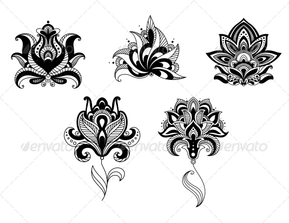 GraphicRiver Ornate Indian and Persian Floral Design Set 6727719