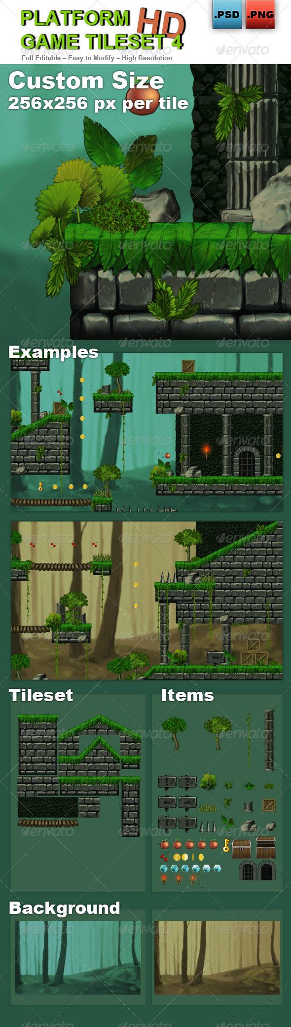 GraphicRiver Platform Game Tileset 4 HD 6727874
