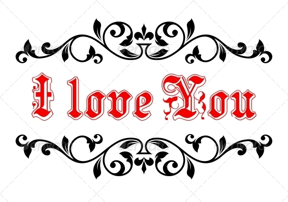 GraphicRiver I Love You in a Calligraphic Frame 6727965