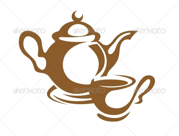GraphicRiver Teapot Cup and Saucer Icon in Brown 6728161