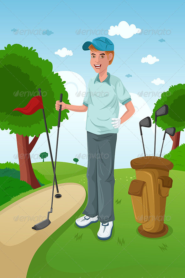 GraphicRiver Man Playing Golf 6728699