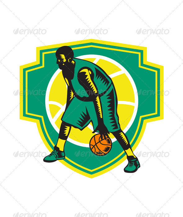 GraphicRiver Basketball Player Dribbling Ball Woodcut Shield 6728879