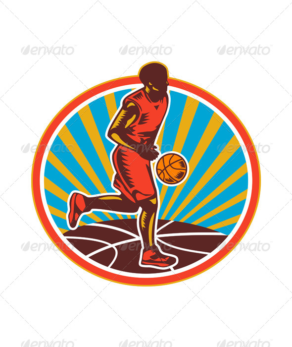 GraphicRiver Basketball Player Dribbling Ball Woodcut Retro 6728885
